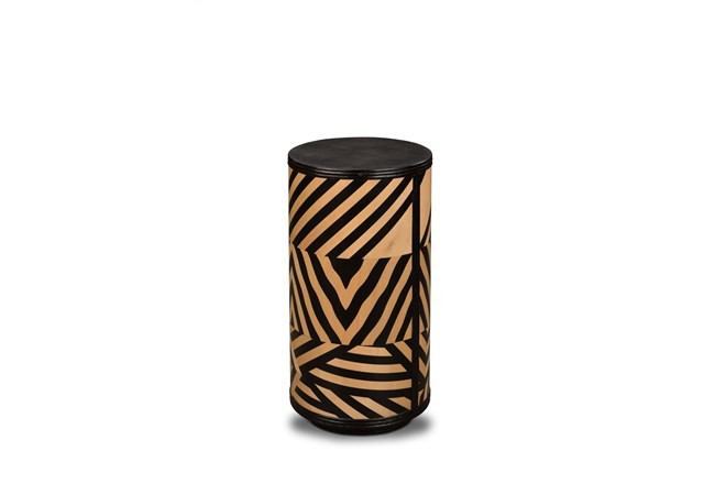 Black + Natural Tribal Accent Table  - 360