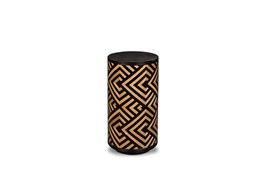 Black + Natural Triangle Print Accent Table