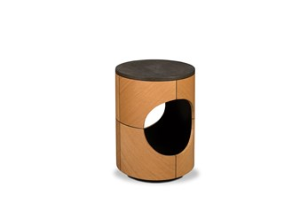 Oak + Shagreen Drum Accent Table
