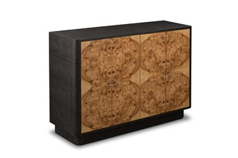 "Dark Wood Shagreen Front 4 Door 52"" Sideboard"