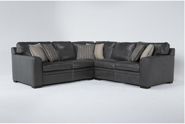 """Greer Dark Grey Leather 3 Piece 108"""" Sectional With Right Arm Facing & Left Arm Facing Loveseat and Corner"""