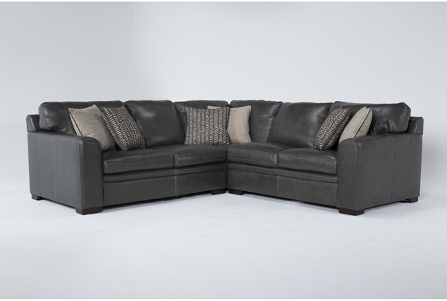 """Greer Dark Grey Leather 3 Piece 108"""" Sectional With Right Arm Facing & Left Arm Facing Loveseat and Corner - 360"""