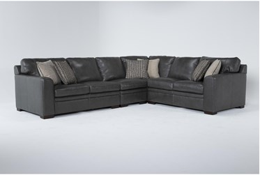 """Greer Dark Grey Leather 4 Piece 137"""" Sectional With Right Arm Facing & Left Arm Facing Loveseat, Armless Chair and Corner"""