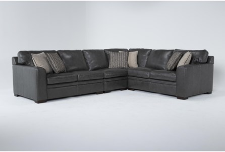 Greer Dark Grey Leather 4 Piece 137