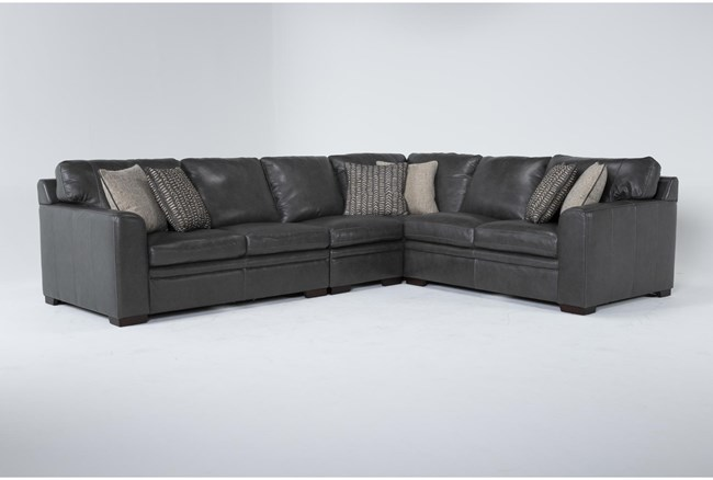 """Greer Dark Grey Leather 4 Piece 137"""" Sectional With Right Arm Facing & Left Arm Facing Loveseat, Armless Chair and Corner - 360"""