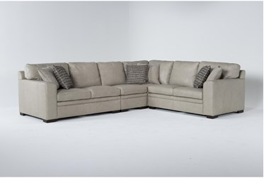 """Greer Stone Leather 4 Piece 137"""" Sectional With Right Arm Facing & Left Arm Facing Loveseat, Armless Chair and Corner"""
