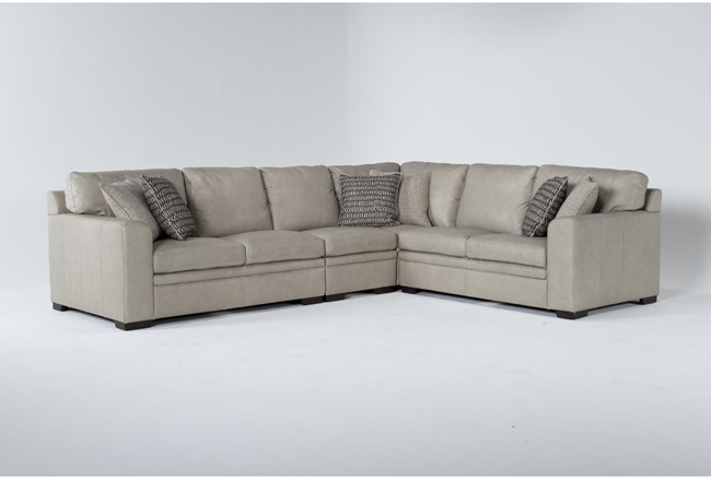 """Greer Stone Leather 4 Piece 137"""" Sectional With Right Arm Facing & Left Arm Facing Loveseat, Armless Chair and Corner - 360"""