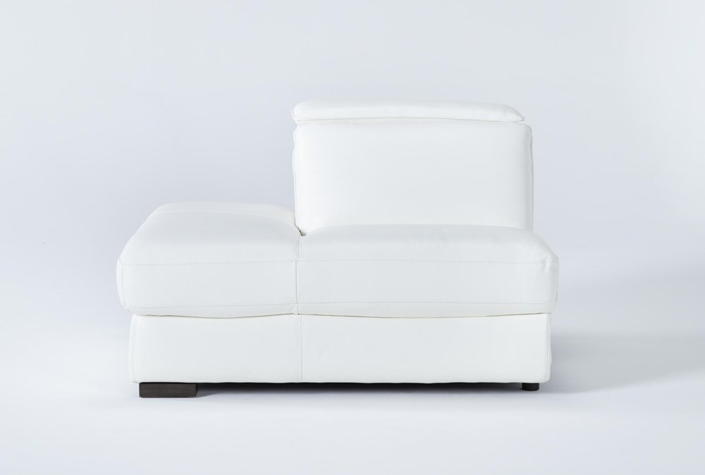 Hana White Leather Left Arm Facing Chaise With 2 Position Headrest
