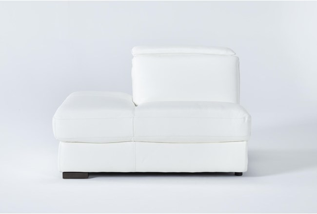Hana White Leather Left Arm Facing Chaise With 2 Position Headrest - 360