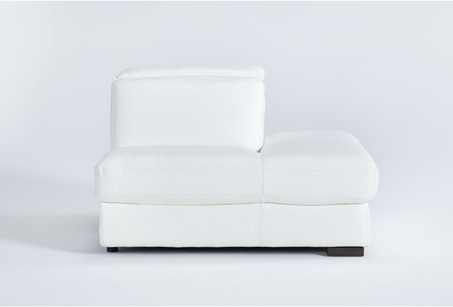 Hana White Leather Right Arm Facing Chaise With 2 Position Headrest - 360