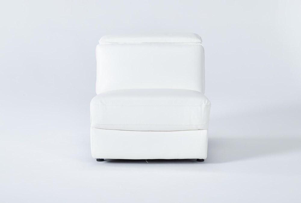 Hana White Leather Armless Chair With 2 Position Headrest