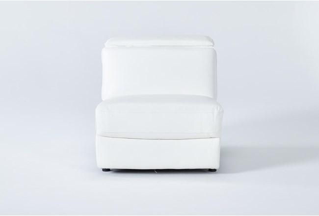 Hana White Leather Armless Chair With 2 Position Headrest - 360