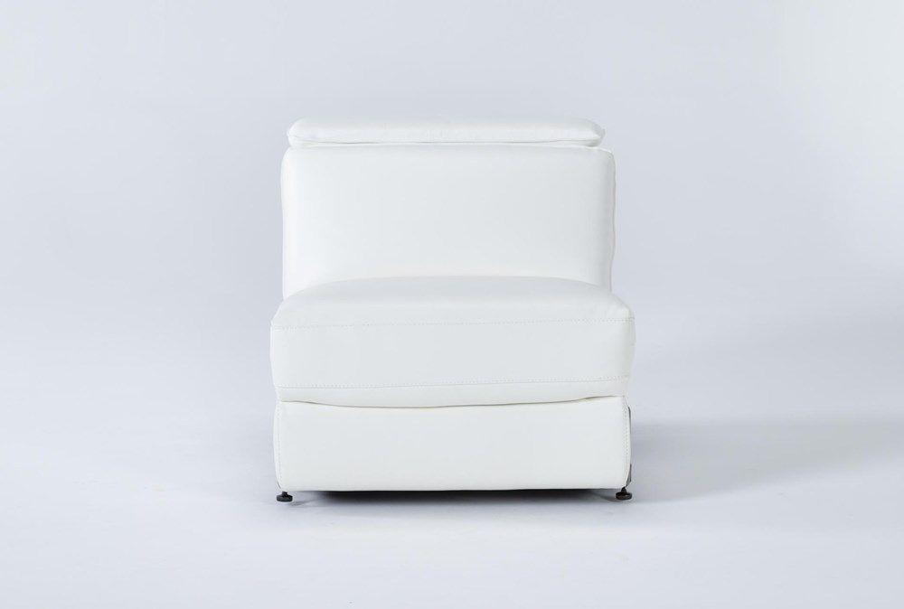 Hana White Leather Armless Power Recliner With Power Headrest
