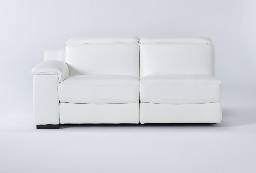 Hana White Leather Left Arm Facing Dual Power Reclining Loveseat With Power Headrest & Usb