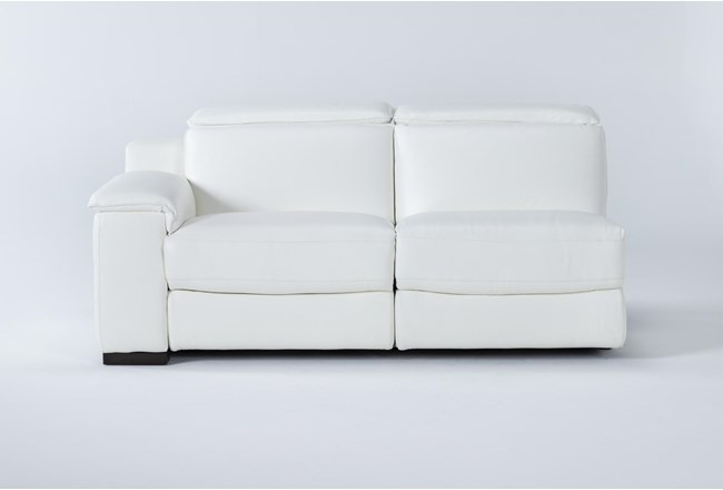 Hana White Leather Left Arm Facing Dual Power Reclining Loveseat With Power Headrest & Usb - 360