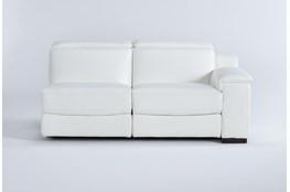 Hana White Leather Right Arm Facing Dual Power Reclining Loveseat With Power Headrest & Usb