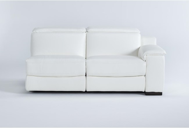 Hana White Leather Right Arm Facing Dual Power Reclining Loveseat With Power Headrest & Usb - 360