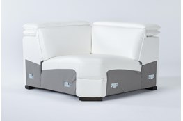 Hana White Leather Corner Wedge With 2 Position Headrests