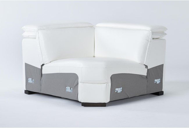 Hana White Leather Corner Wedge With 2 Position Headrests - 360
