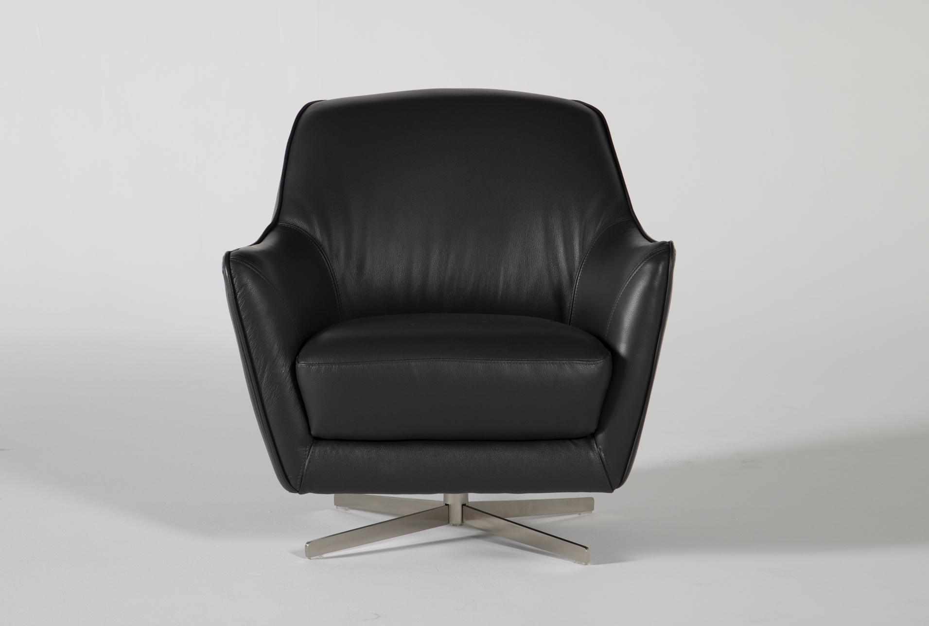 Picture of: Cara Slate Leather Swivel Accent Chair Living Spaces