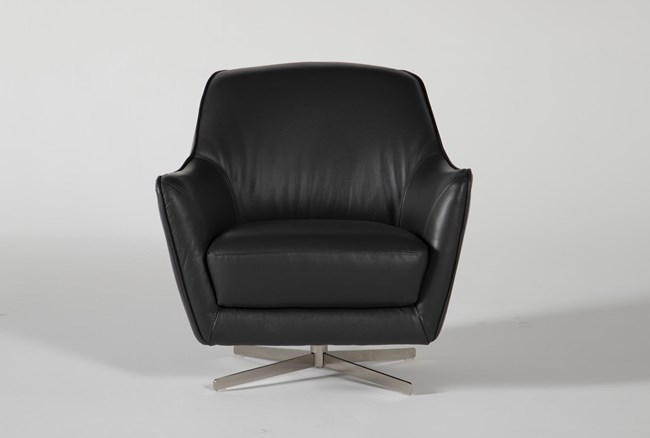Cara Slate Leather Swivel Accent Chair - 360