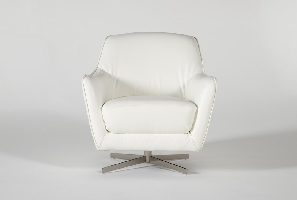 Cara White Leather Swivel Accent Chair