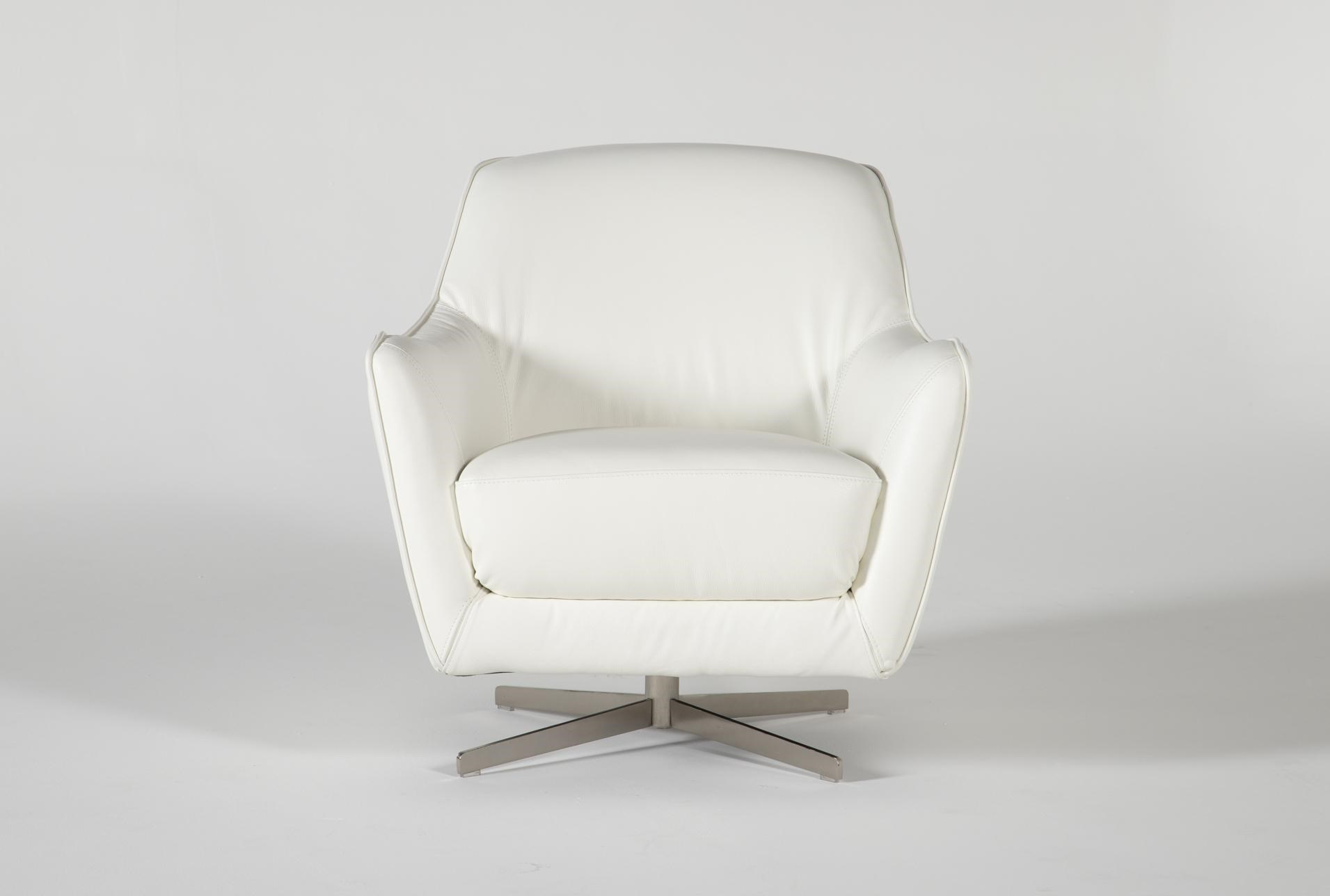 Cara White Leather Swivel Accent Chair Living Spaces