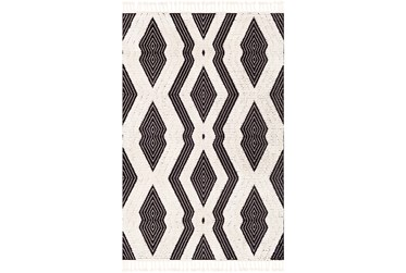 """2'x2'9"""" Rug-Globally Inspired High/Low Pile With Fringe Black/Ivory"""