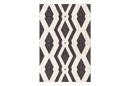 63X87 Rug-Globally Inspired High/Low Pile With Fringe Black/Ivory