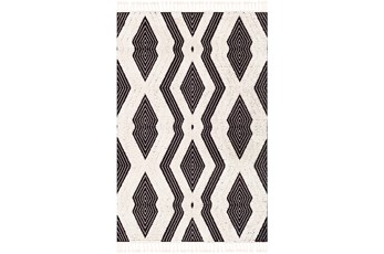 """7'8""""x10'2"""" Rug-Globally Inspired High/Low Pile With Fringe Black/Ivory"""