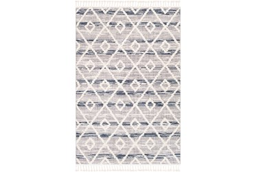 """2'x2'9"""" Rug-Globally Inspired High/Low Pile With Fringe Navy/Grey/Black"""