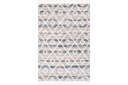 63X87 Rug-Globally Inspired High/Low Pile With Fringe Navy/Grey/Black