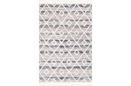 """7'8""""x10'2"""" Rug-Globally Inspired High/Low Pile With Fringe Navy/Grey/Black"""
