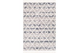 7'8x10'2 Rug-Globally Inspired High/Low Pile With Fringe Navy/Grey/Black