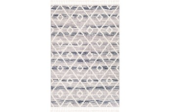 "7'8""x10'2"" Rug-Globally Inspired High/Low Pile With Fringe Navy/Grey/Black"