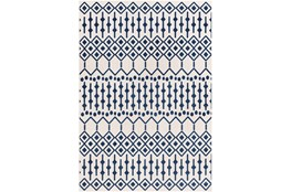 94X123 Rug-Modern Geometric Easy Care Blue