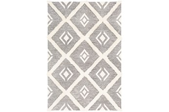 24X36 Rug-High/Low Pile With Diamond Pattern Charcoal/Cream