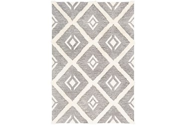 2'x3' Rug-High/Low Pile With Diamond Pattern Charcoal/Cream