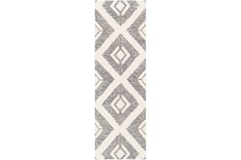 30X96 Rug-High/Low Pile With Diamond Pattern Charcoal/Cream