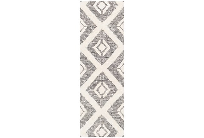 30X96 Rug-High/Low Pile With Diamond Pattern Charcoal/Cream - 360