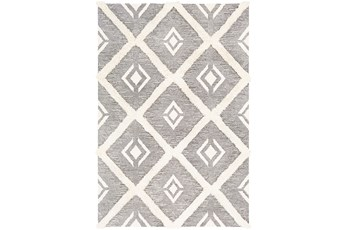 60X90 Rug-High/Low Pile With Diamond Pattern Charcoal/Cream