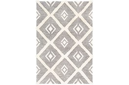 96X120 Rug-High/Low Pile With Diamond Pattern Charcoal/Cream