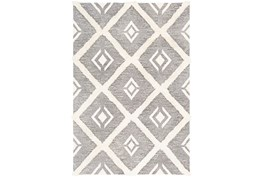 9'x12' Rug-High/Low Pile With Diamond Pattern Charcoal/Cream