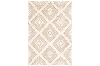 24X36 Rug-High/Low Pile With Diamond Pattern Tan/Cream