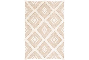 2'x3' Rug-High/Low Pile With Diamond Pattern Tan/Cream