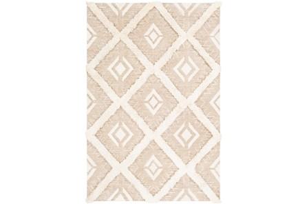24X36 Rug-High/Low Pile With Diamond Pattern Tan/Cream