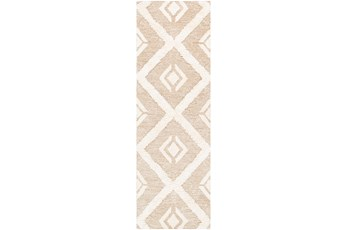 30X96 Rug-High/Low Pile With Diamond Pattern Tan/Cream