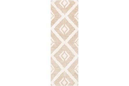 30X96 Rug-High/Low Pile With Diamond Pattern Tan/Cream