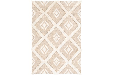 60X90 Rug-High/Low Pile With Diamond Pattern Tan/Cream
