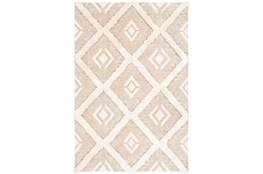 108X144 Rug-High/Low Pile With Diamond Pattern Tan/Cream